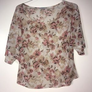 Women's floral See Through Top Size L
